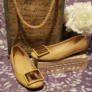 TORY BURCH SAND/GOLD LEATHER LENOX BALLET FLATS